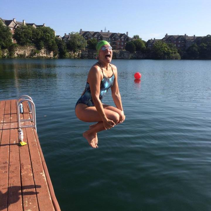 Here I am jumping into Quarry Lake for swim :-)